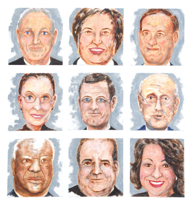 Faces of nine US Supreme Court Justices in 2013